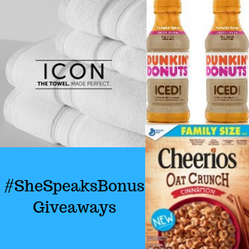 Enter our #SheSpeaksBonus Giveaways to Win Towels, Cereal & Coffee